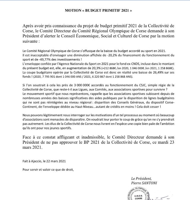 Motion du Comité Directeur du CROS Corse – BUDGET AU SPORT 2021